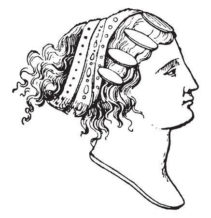 anatolian: Lydian hairstyles, vintage engraved illustration.