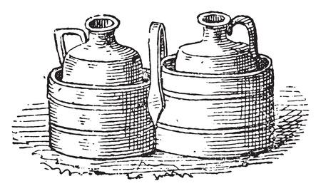 Cruet bottle holders, vintage engraved illustration. Ilustração