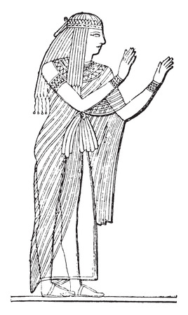 Egyptian woman, vintage engraved illustration.