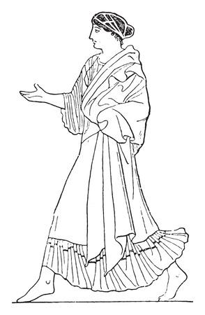draped: Coat without clasp, vintage engraved illustration.