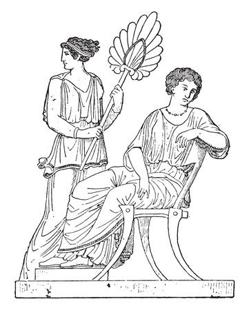 antique chair: Stage gynaeceum, vintage engraved illustration. Illustration