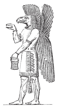 archaeology: Character to the Seal. (sculpture in the Louvre), vintage engraved illustration