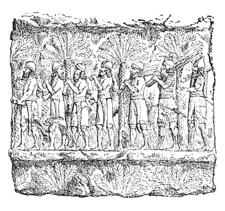 archaeological: Prisoners (palace of Sardanapalus, Louvre.), vintage engraved illustration