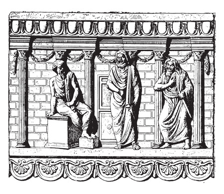 domestic: Domestic altar, vintage engraved illustration.