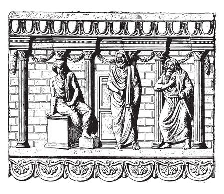 Domestic altar, vintage engraved illustration.