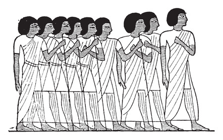 ancient egyptian culture: Family and friends, vintage engraved illustration.