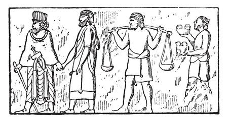 Dependent people (Bas-relief of Persepolis), vintage engraved illustration.