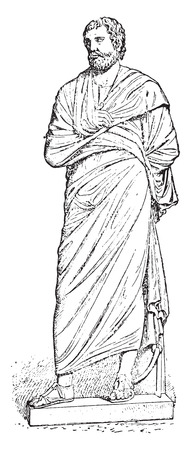 Pallium (after a statue of the museum), vintage engraved illustration.