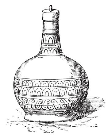 earthenware: Botella, ilustraci�n de la vendimia grabado. Vectores