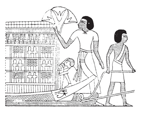 egyptian culture: The catafalque, vintage engraved illustration.