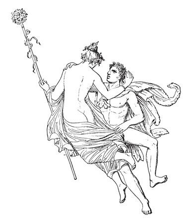 romance: Dance, vintage engraved illustration.