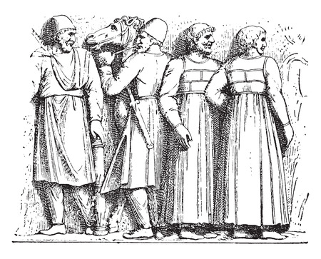 trajan: Dacian and Sarmatian (Trajan column), vintage engraved illustration.