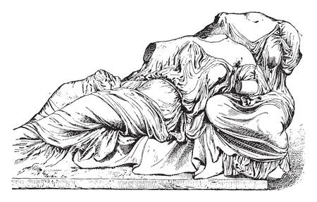Ceres and proserpine (Parthenon), vintage engraved illustration.