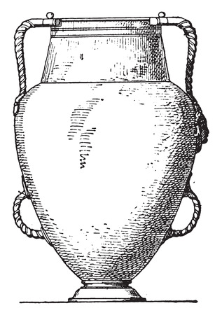 earthenware: Vase with four handles, vintage engraved illustration.