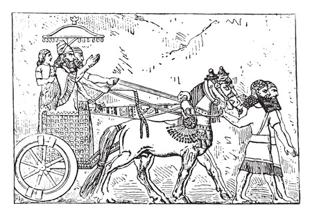 horse and carriage: Ashurbanipal on his chariot, vintage engraved illustration.