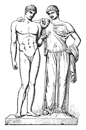 Orestes and Electra, vintage engraved illustration.