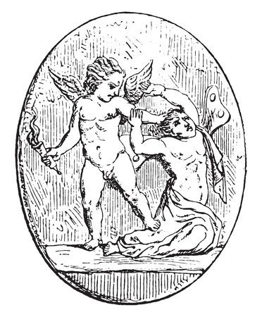 psique: Cupido y Psique, cosecha ilustración grabada.