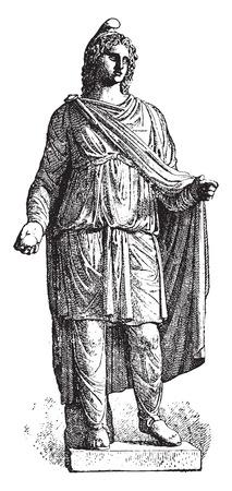 troy: Paris statue, vintage engraved illustration.