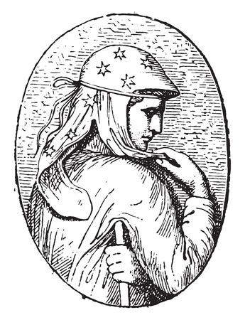 Engraved stone, vintage engraved illustration.