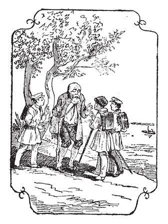 commune: The blind man of Baveno, vintage engraved illustration.