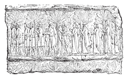 prisoners: Prisoners (palace of Sardanapalus, Louvre.), vintage engraved illustration