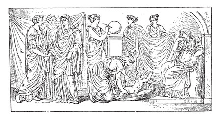 Horoscope (for after an antique bas-relief), vintage engraved illustration.