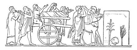 persona viajando: Un convoy de Grecia, ilustración de la vendimia grabado. Vectores