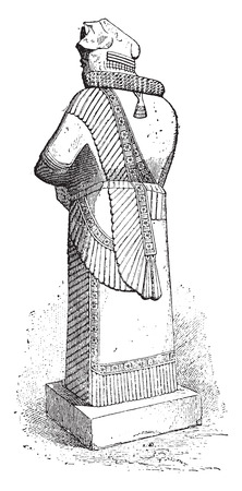 prodigious: Colossal statue, vintage engraved illustration.