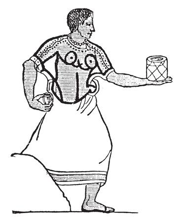 etruscan: Etruscan cook, vintage engraved illustration.