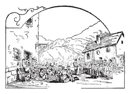 Stop at Realp, vintage engraved illustration.