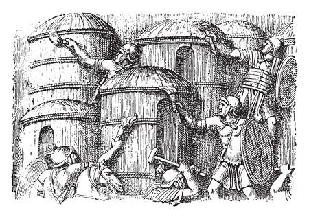 habitation: Houses of the Germans, vintage engraved illustration.