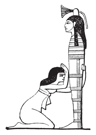 black widow: Widow before the mummy of her husband, vintage engraved illustration.