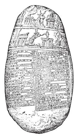 babylonian: El guijarro Michaux (babil�nica contrato de matrimonio), ilustraci�n de la vendimia grabado.