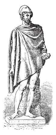cloak: The square-shaped cloak, vintage engraved illustration.