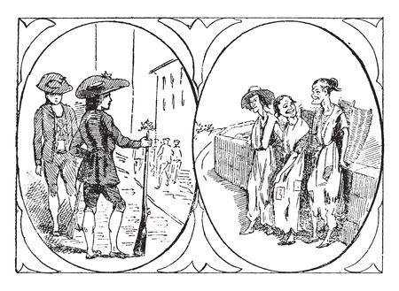 rifleman: Rifleman tirol�s, brujas de Macbeth, ilustraci�n de la vendimia grabado. Vectores