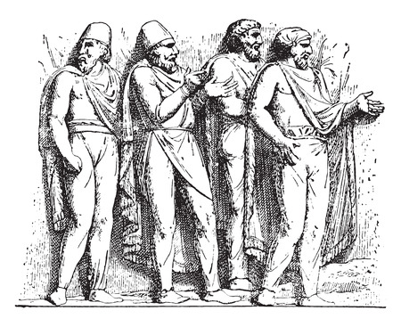 trajan: Dacian suits (Trajan column), vintage engraved illustration.
