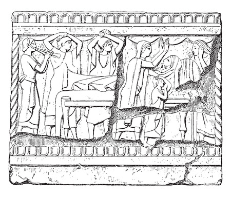 bas: Funeral rite, vintage engraved illustration. Illustration