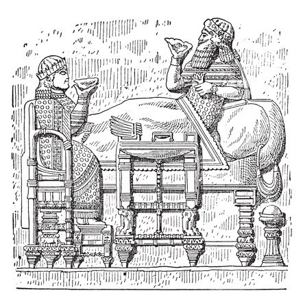 day bed: Feast of Esarhaddon king, day bed, table and chair Assyrian, vintage engraved illustration.
