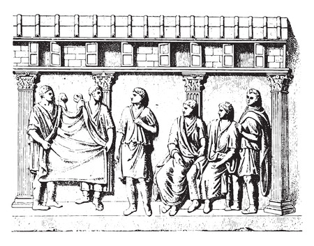 manly: Taking manly toga (for after an engraved antique stone), vintage engraved illustration.