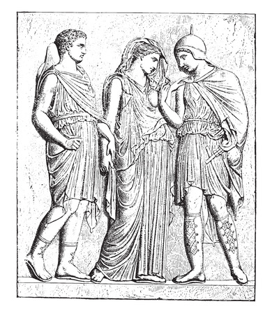 bas relief: Antiope and his son (bas-relief in the Louvre), vintage engraved illustration.