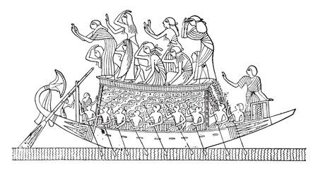 Flowers on a boat, vintage engraved illustration. 向量圖像