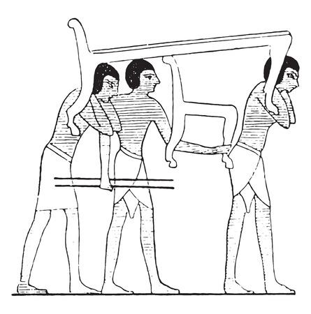 The furniture of the deceased, vintage engraved illustration.