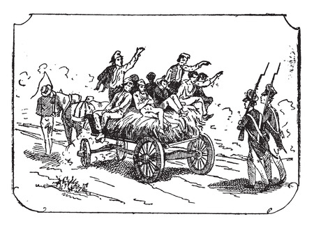 convoy: Convoy of convicts, vintage engraved illustration. Illustration