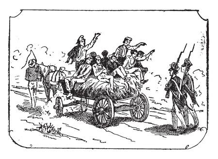 convoy: Convoy of convicts, vintage engraved illustration. Illustration
