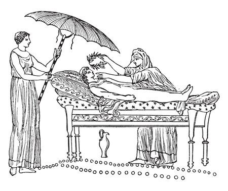 woman lying in bed: Greek funeral bed, vintage engraved illustration.