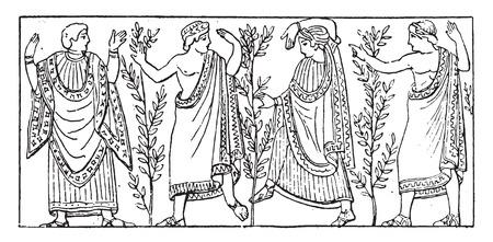 etruscan: Etruscan dance, vintage engraved illustration. Illustration