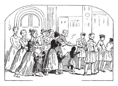 black history: Shopping street in Venice, vintage engraved illustration. Illustration