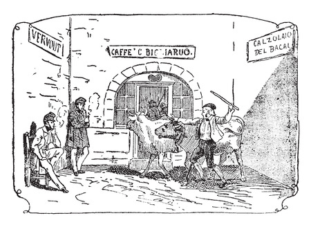 shepherds: Occupied shepherds and gentlemen lazy, vintage engraved illustration.