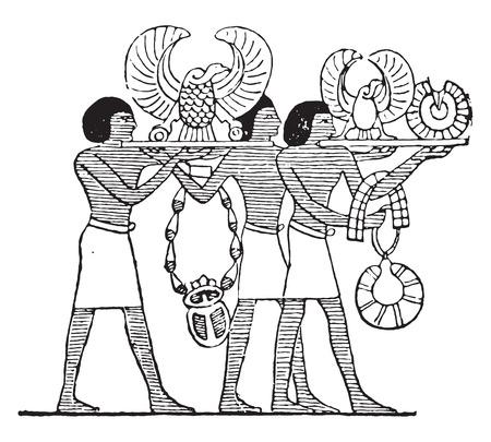 Golden vultures, vintage engraved illustration.