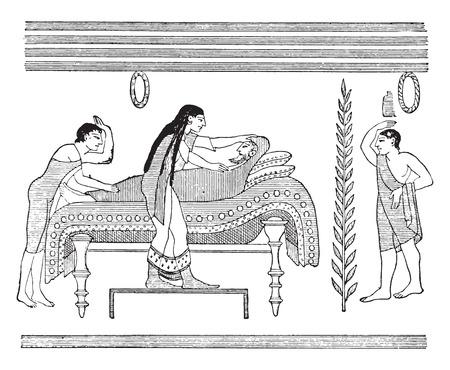 decease: The burial, vintage engraved illustration.